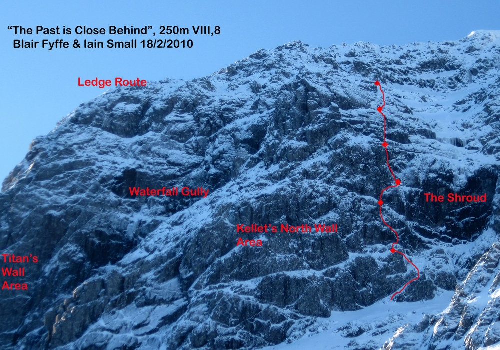 Photo Topo for 'The Past is Close Behind', 250m, VIII, 8, Ben Nevis, 234 kb