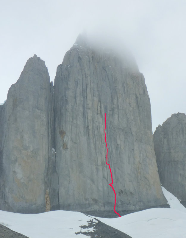 Cerro Catedral - line of route attempted, 55 kb