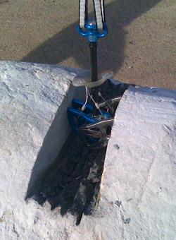 DMM Dragon Cam in cut boulder, 57 kb