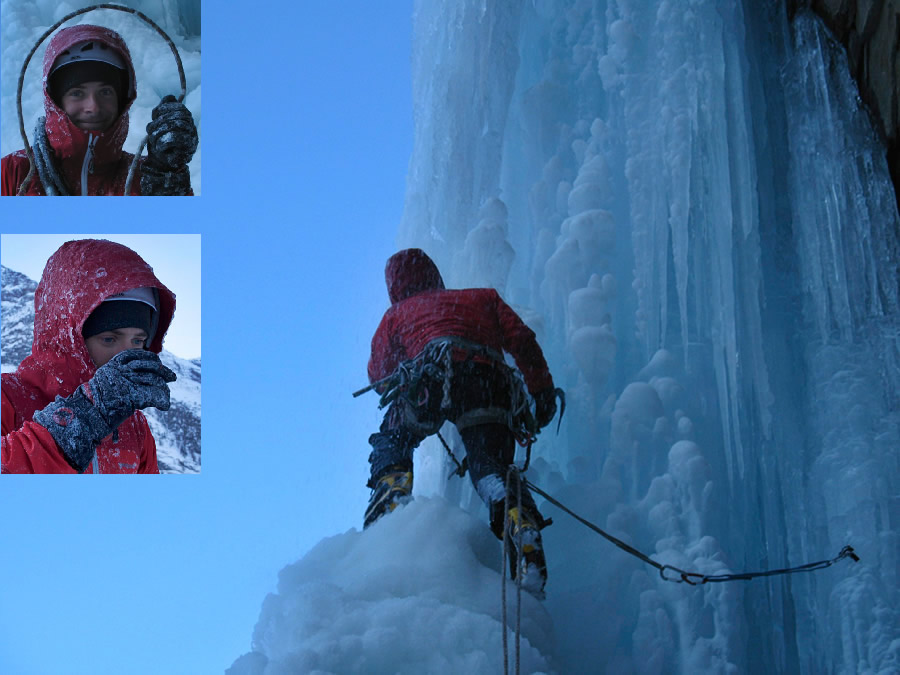 Jon Griffith getting a good showering on Patri Droite, insert shows ropes and jacket after., 130 kb