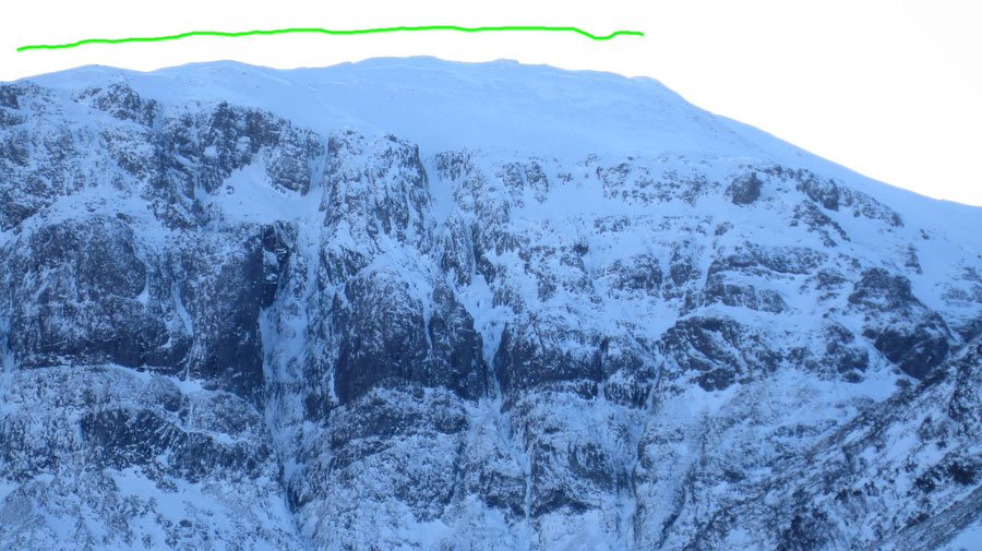 West Face Aonach Dubh showing the width of the avalanche, 123 kb
