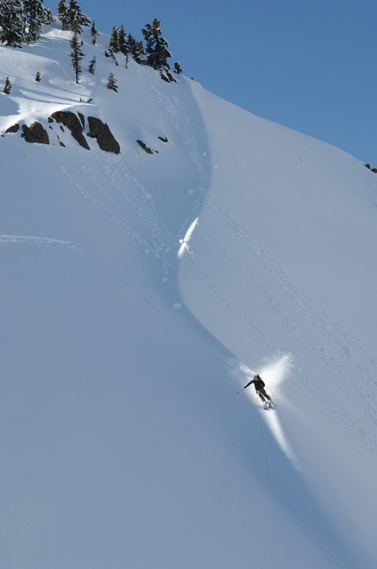 The best bit of ski touring in the Cascades WA is dropping in after an hour skinning., 128 kb