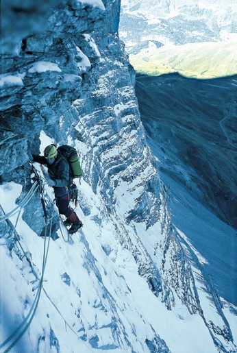 Luke Hughes on the Hinterstoisser Traverse, North Face of the Eiger., 86 kb