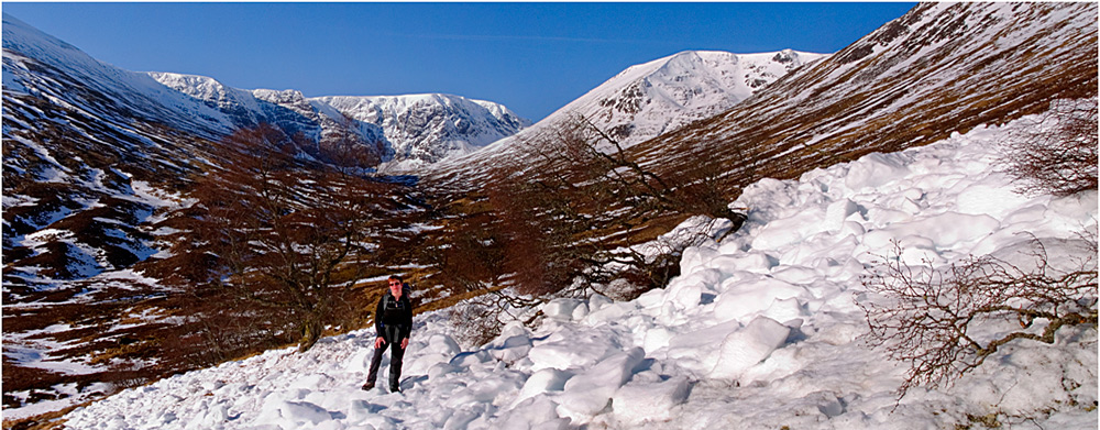 Avalanche debris on approach to Creag Meagaidh, 229 kb