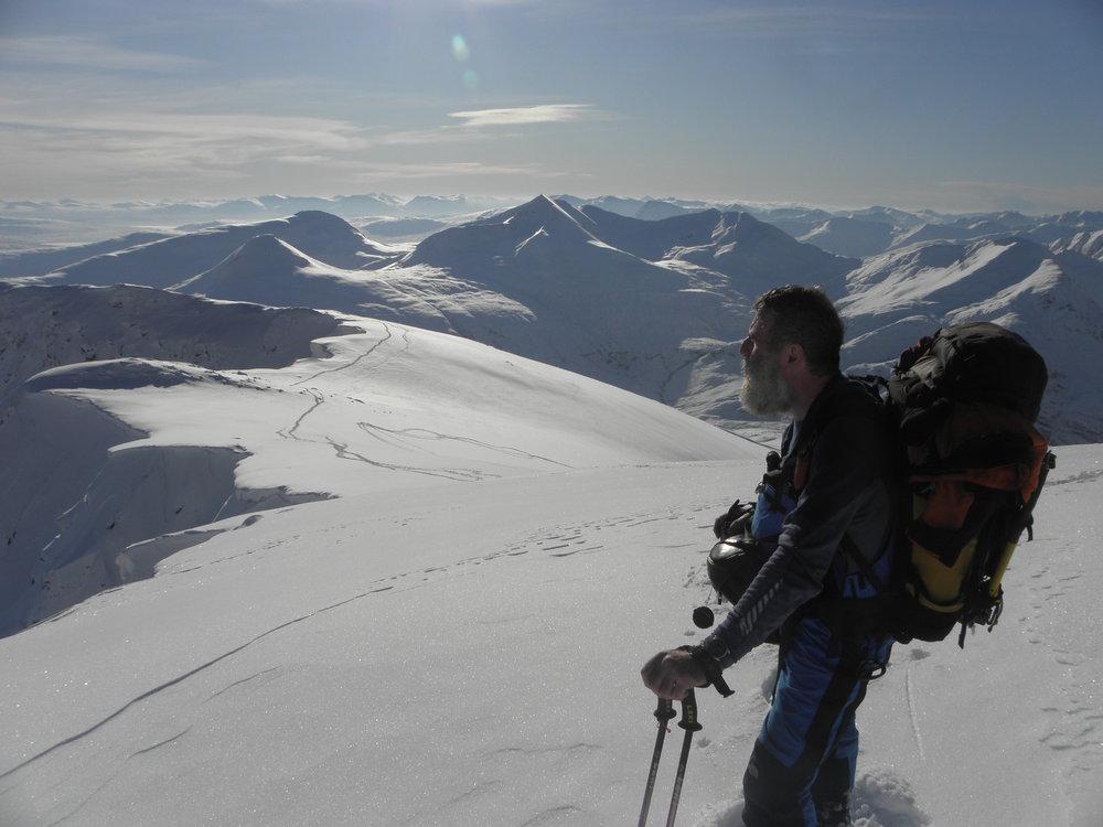 John Bamber .. approaching Aonach Beag from Glen Nevis, 95 kb