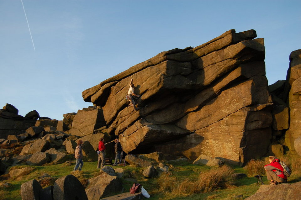 Aide Jebb, owner of Blox, making the FA of  Evil Gazebo (E6, 7a) on Stanage, 119 kb