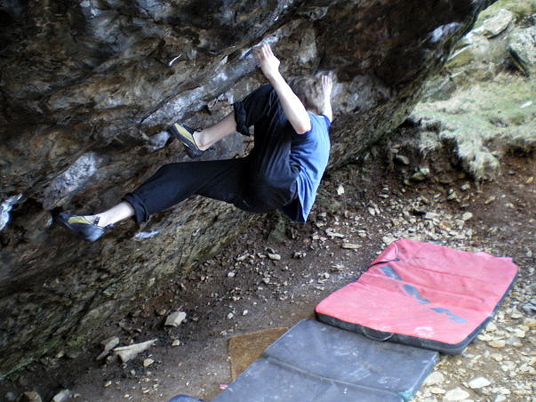 Tom Williams climbing Mr Fantastic, V12, Jerry's Roof Boulder, Llanberis., 132 kb