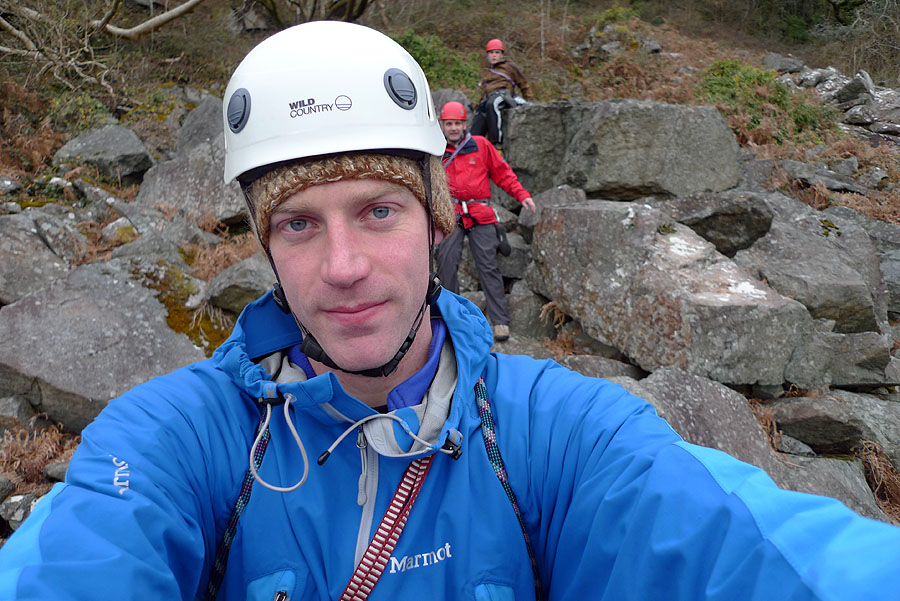 Jack Geldard guiding at Tremadog in poor weather, 170 kb