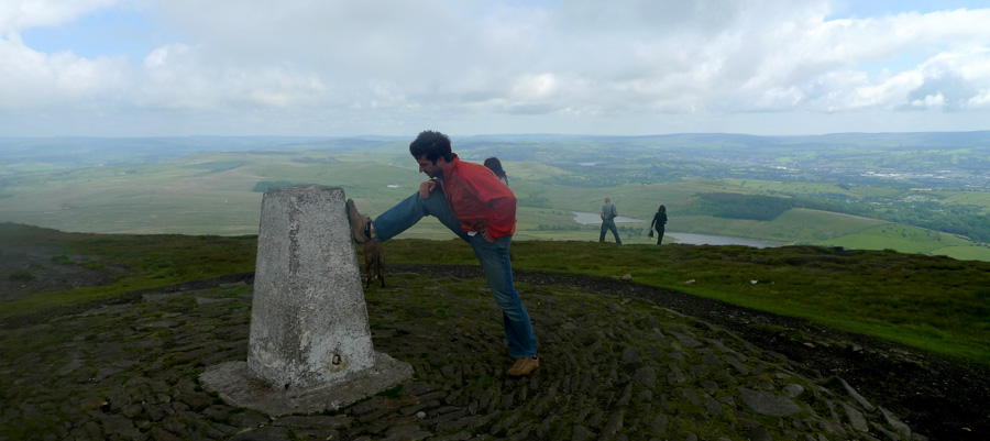 Alastair on the summit of Pendle near his home., 108 kb