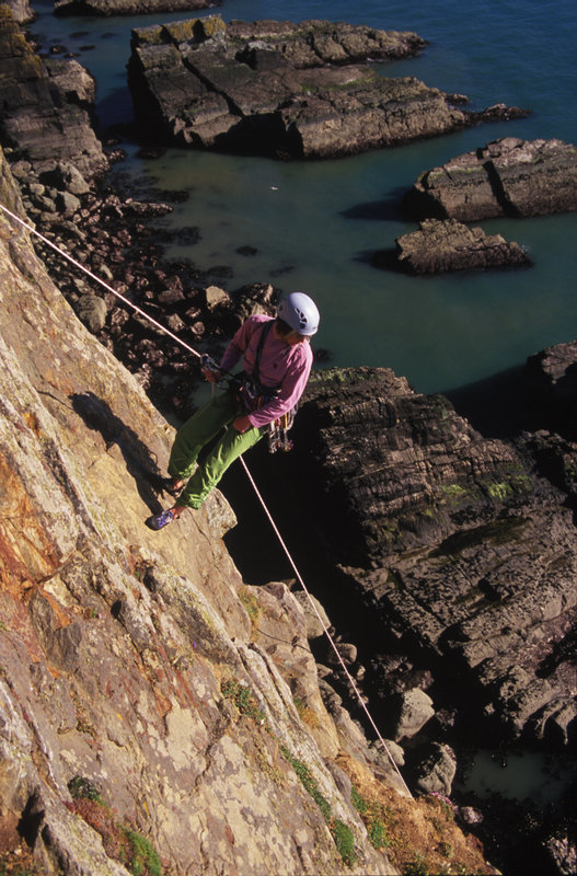 Castle Helen, Gogarth, one of the many sea-cliffs that require an abseil approach, 137 kb
