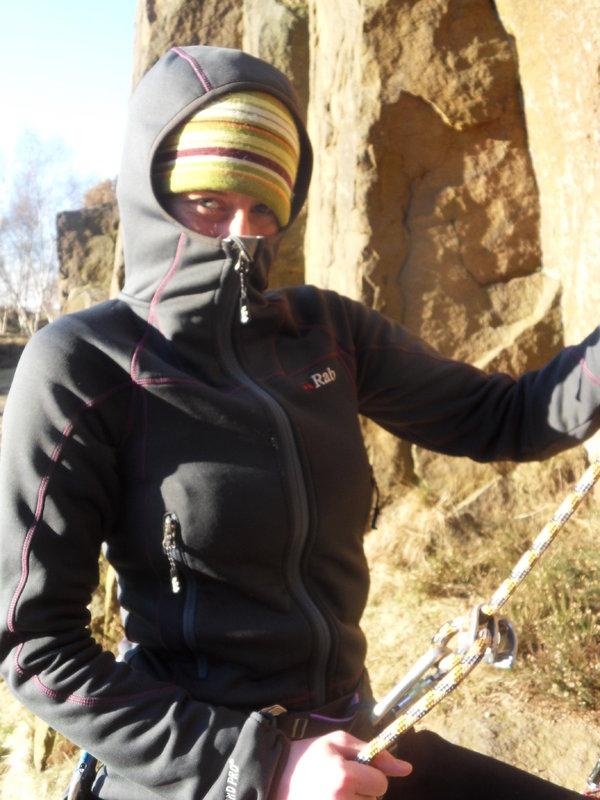 Sarah Stirling testing the Rab Shadow at Millstone, 90 kb