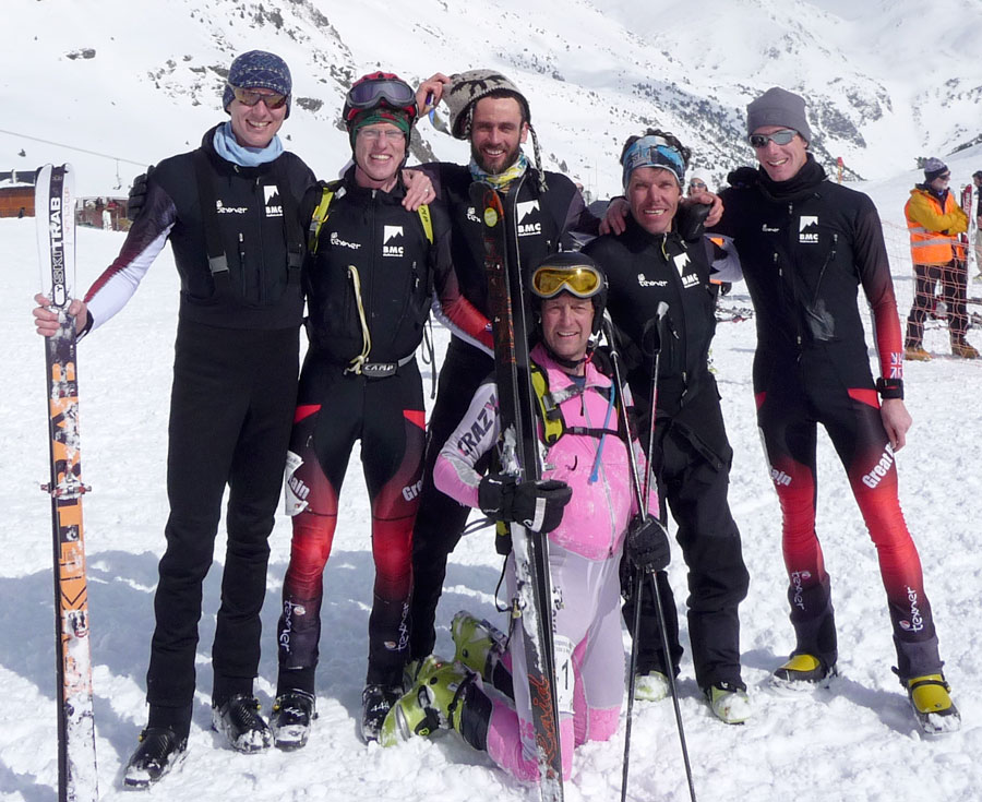 The British Ski Mountaineering team. L-R Ivor Ligertwood, Jon Morgan, Ben Bardsley, Nick Wallis, Es Tresidder and Gary Devine., 162 kb