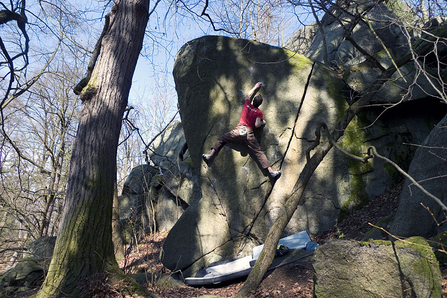 Jack Geldard on a 6C+ slab at Petrohrad, Czech Republic, 234 kb