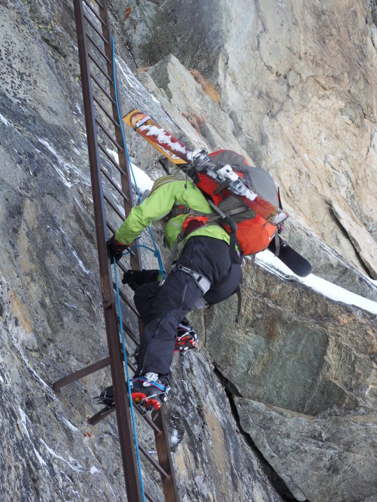 Sarah Stirling Climbing the Pas de Chevre Ladders on the Haute Route, 131 kb