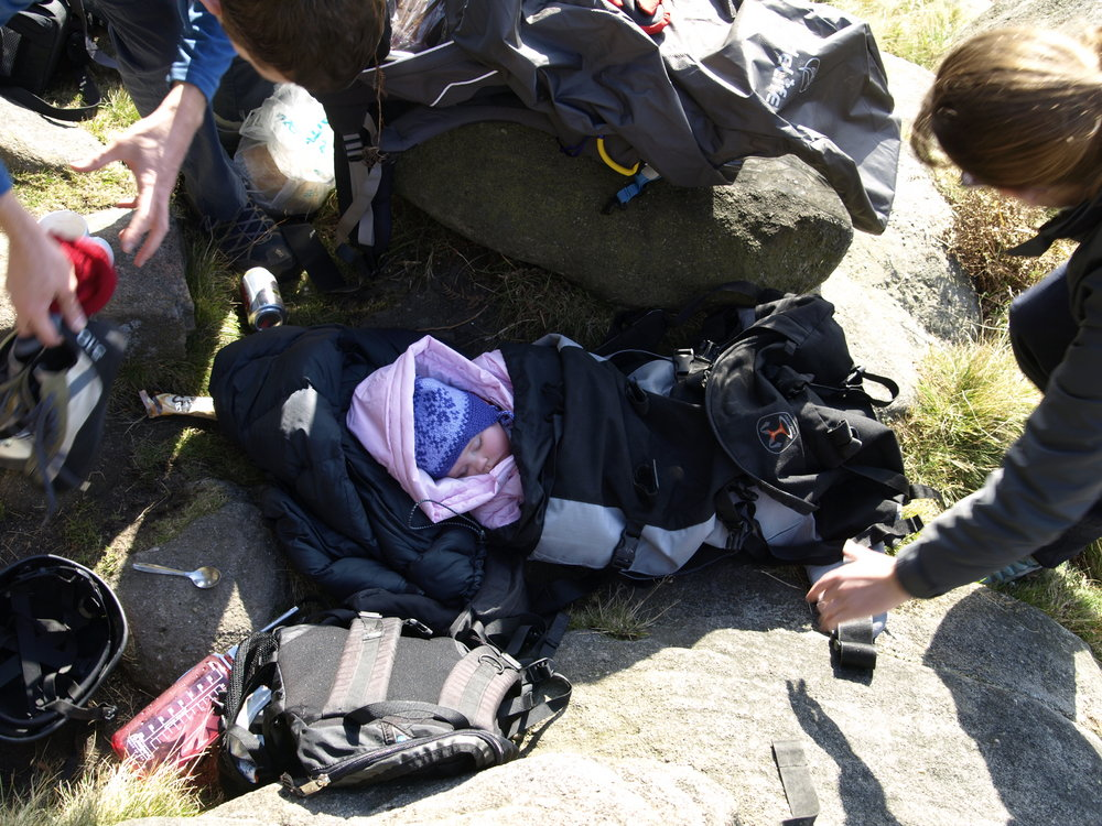 She's asleep! A climbing Dad whisks his rock shoes out, 203 kb