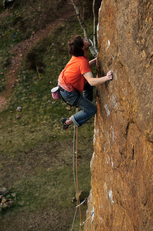 Neil Kershaw on Master's Edge, E7 Millstone, 138 kb