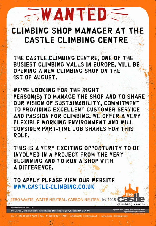 Wanted � Climbing Shop Manager at The Castle (Lon, Recruitment Premier Post, 3 weeks at £75pw, 139 kb