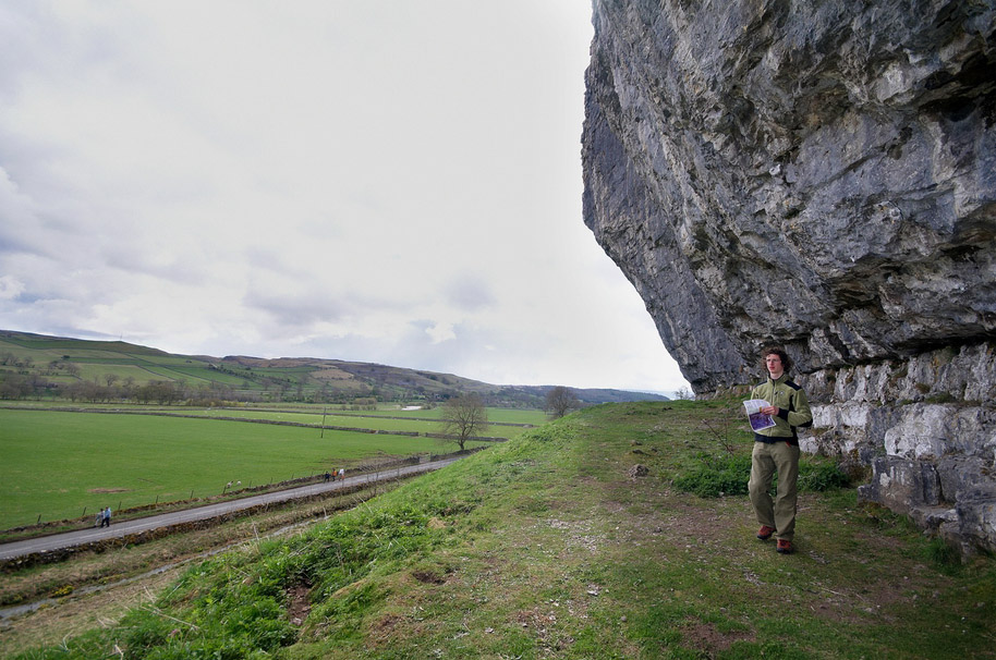 Adam checking out the lines at Kilnsey crag before climbing two F9a routes in two days., 192 kb