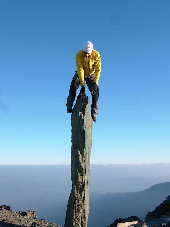 Me on 'The Finger Stone' at the junction of the Llanberis path and the Pyg Track, Snowdon, 108 kb