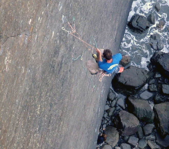 Dave Birkett  takes one of several whippers off The Walk of Life - E9 6c, 118 kb