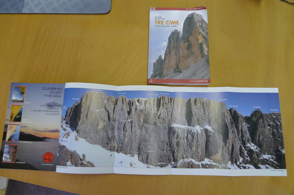 The stunning panoramic fold-out photo in the Marmolada Guidebook, 122 kb
