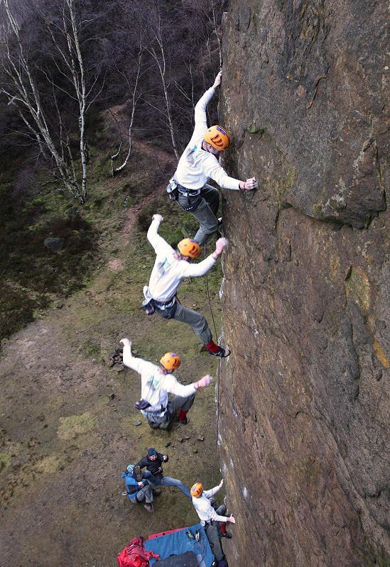 Pete Whittaker takes the lob off Master's Edge E7 6b, Millstone, Peak District, 226 kb