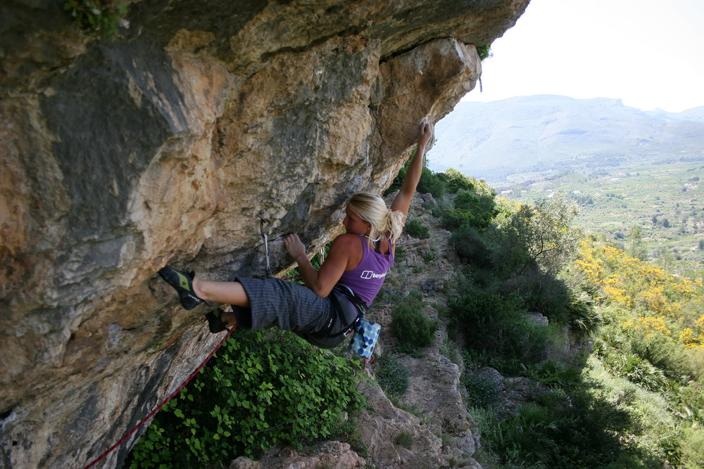 Leah setting up for the crux on her first 8a+, 193 kb