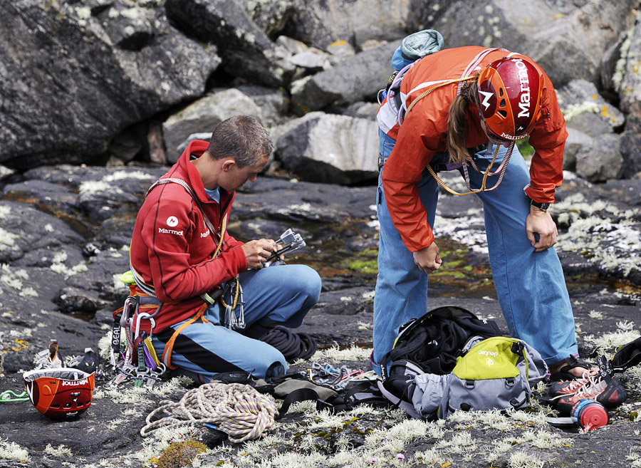 Lucy Creamer and Steve McClure sorting their rack for the route., 225 kb