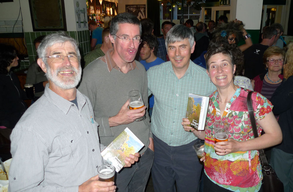 Rab Carrington (BMC President), Niall Grimes (Series Editor) and a very happy Steve 'offwidth' Clark and Lynn Robinson., 156 kb