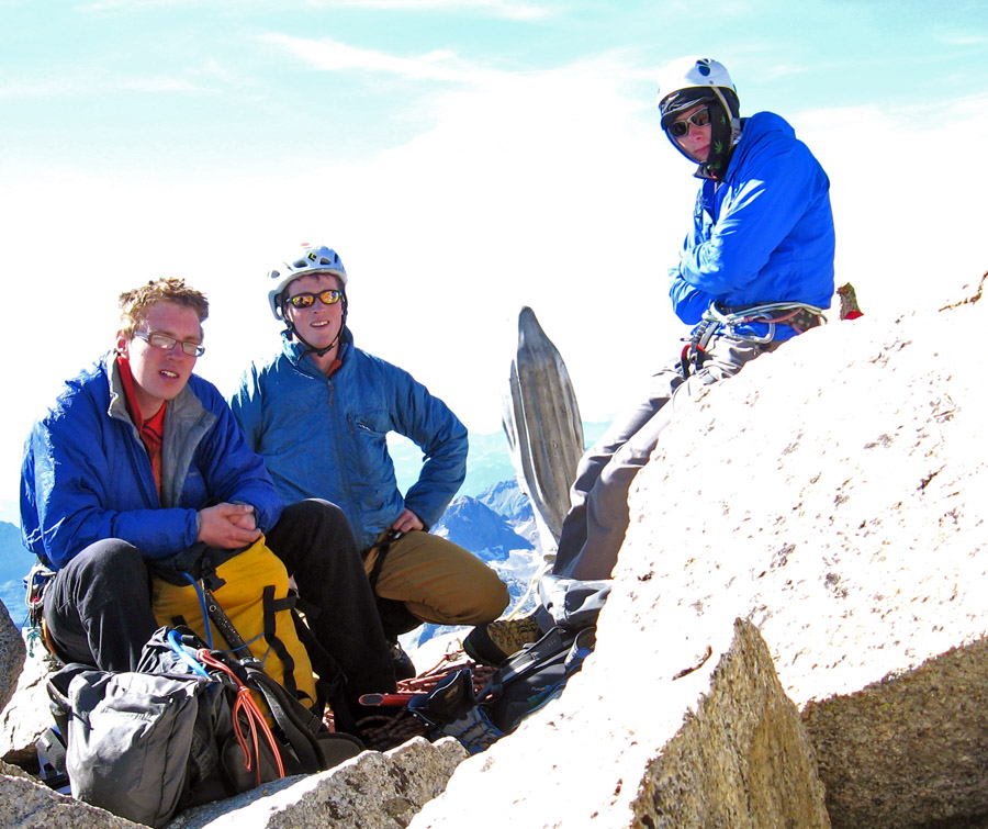 Tom Ripley, Hamish Dunn and Luke Hunt atop the Petit Dru after a one day ascent of its' North Face., 200 kb