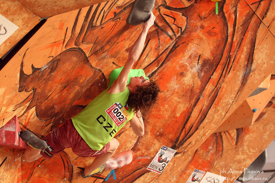 Adam Ondra competing in the final round at the Moscow WC, 230 kb