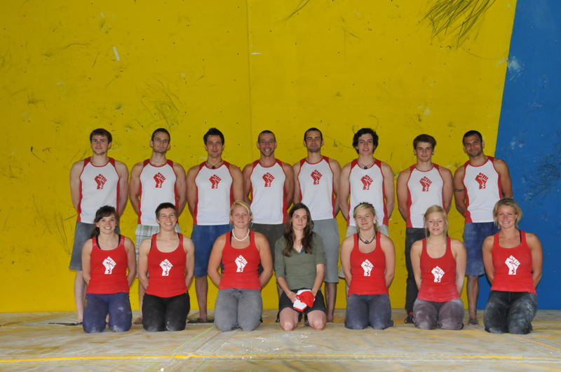 Competition winner Rachel Gibson with the British Bouldering Team, 59 kb