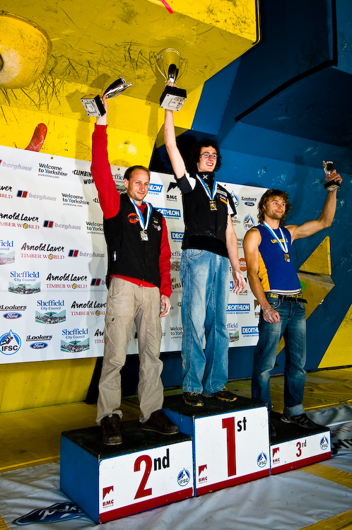Men�s podium: 1st Adam Ondra (Czech), 2nd Cedric Lachat (Swiss) and 3rd Mykhaylo Shalagin (Ukraine), 234 kb