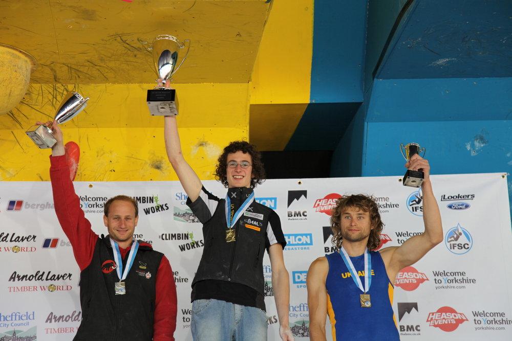 The men's podium - Cédric Lachat, Adam Ondra, Mykhaylo Shalagin, 117 kb