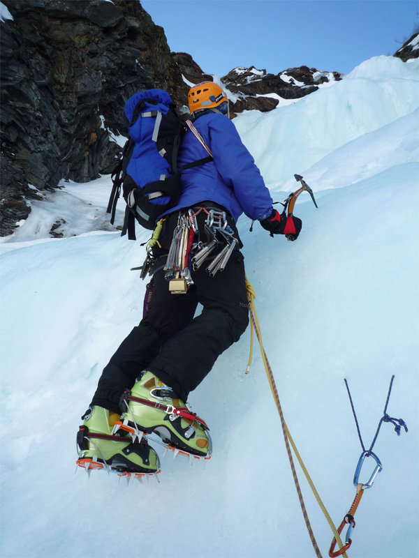 Ed Ewing ice climbing in the Ledge Harness, Tamokdalen, Arctic Norway., 94 kb