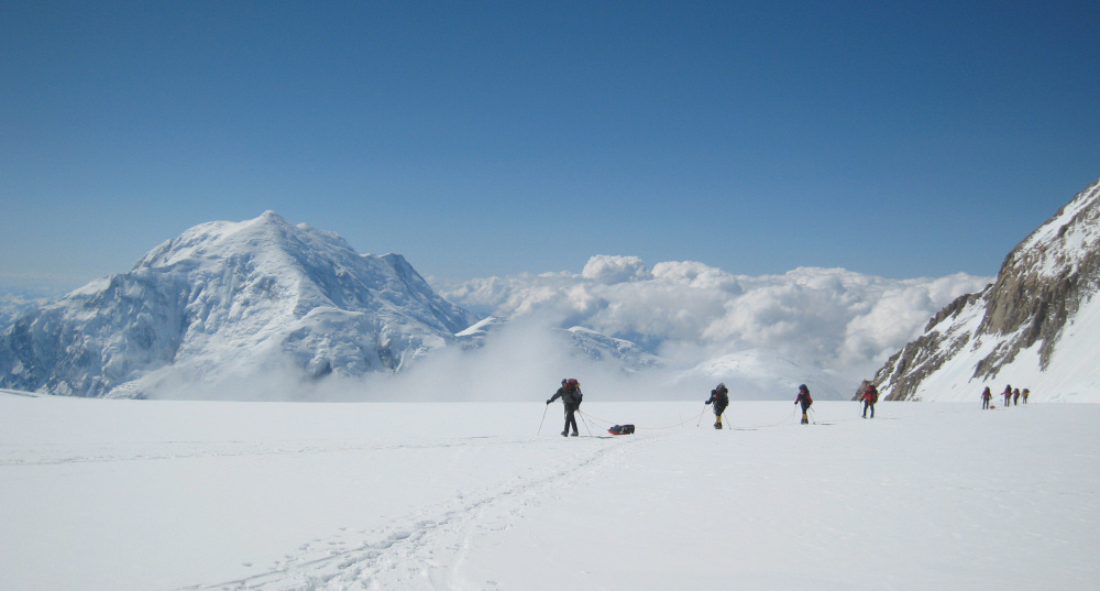 Approaching Camp 14 (14,200 ft) on the West Buttress route, Denali; Mt Foraker behind, 172 kb