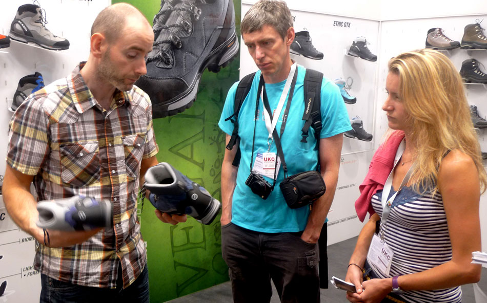 Steve Roberts of the Mountain Boot Company takes Alan James and Sarah Stirling of UKC through the Scarpa range., 142 kb