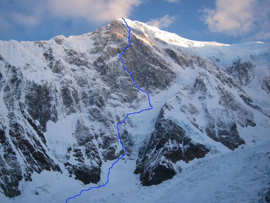 """The view of the wall from our campsite, the morning that we started up the route. Dracula is marked in blue."", 149 kb"