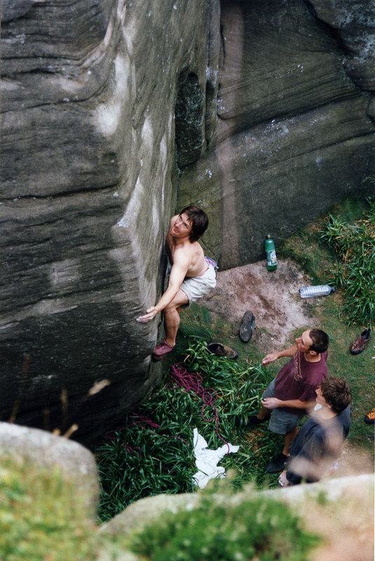 Johnny Dawes climbing on 'The Stag Do', 132 kb