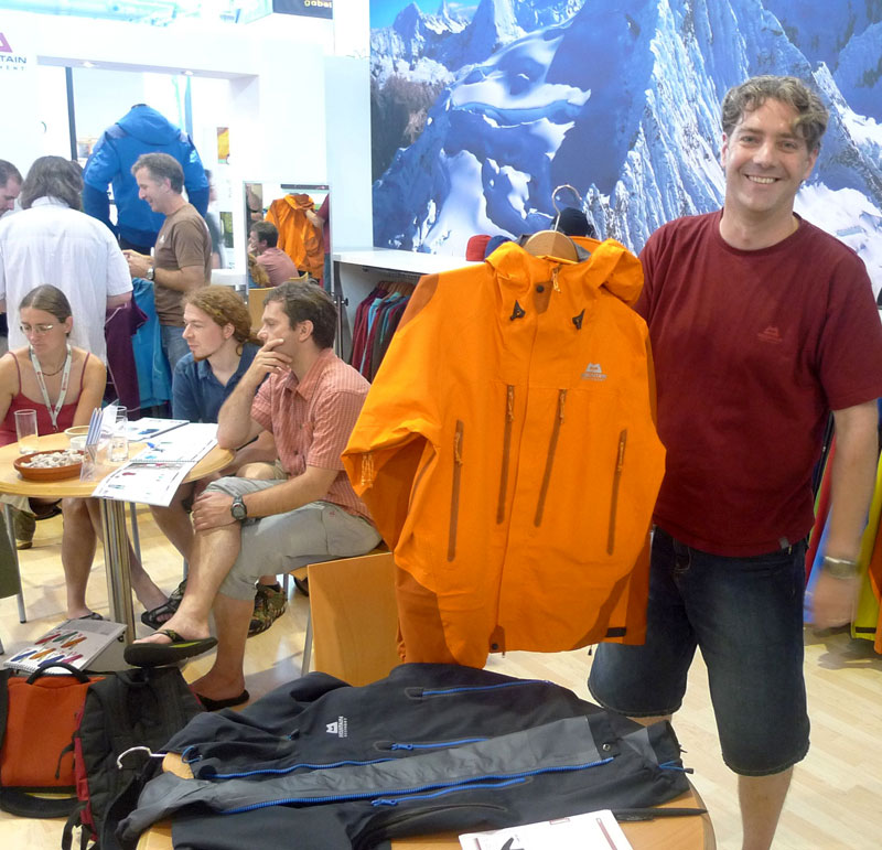 Richard Woodall of Mountain Equipment with the restyled Changabang Jacket and Kalanka Jacket., 142 kb