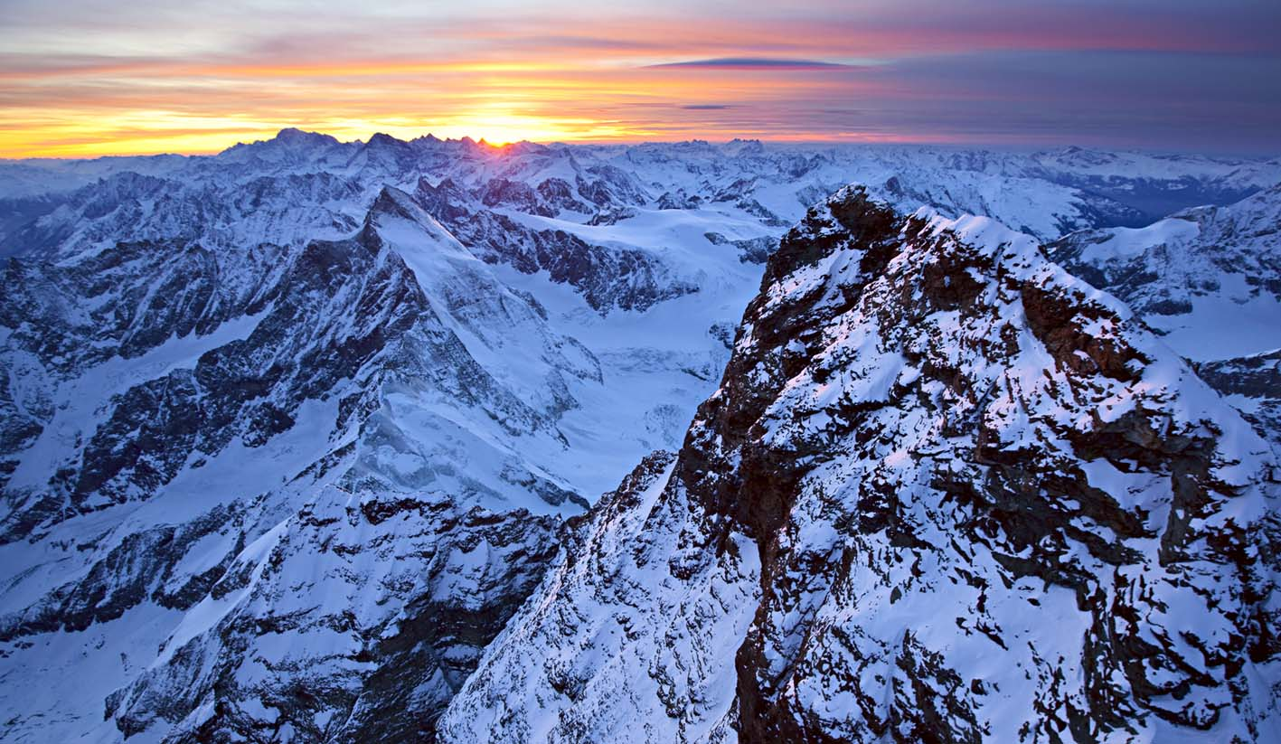 The stunning mountain vista of the South Face of the Matterhorn, 213 kb