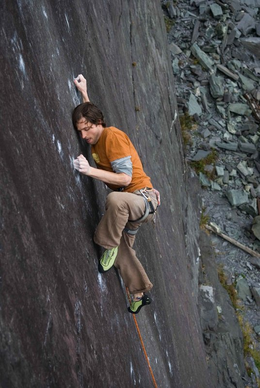 Pete Robins attempting The Very Big and the Very Small (F8b+) two years ago, 92 kb