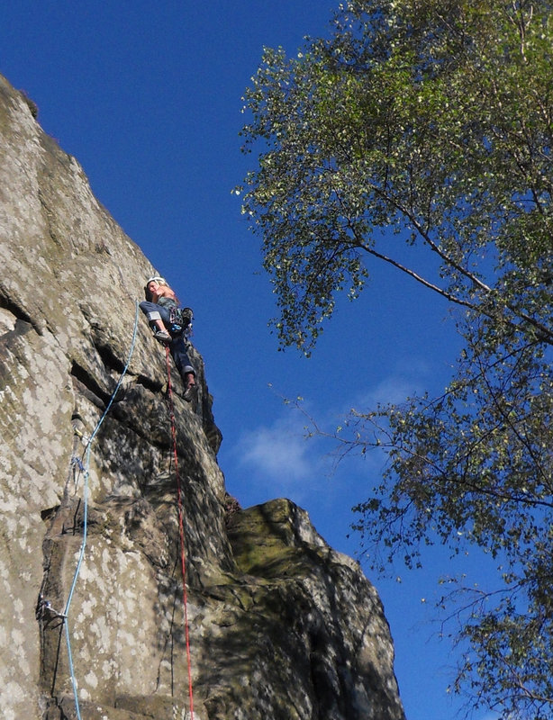 Sarah Stirling testing the DMM Puma at Froggatt, 174 kb