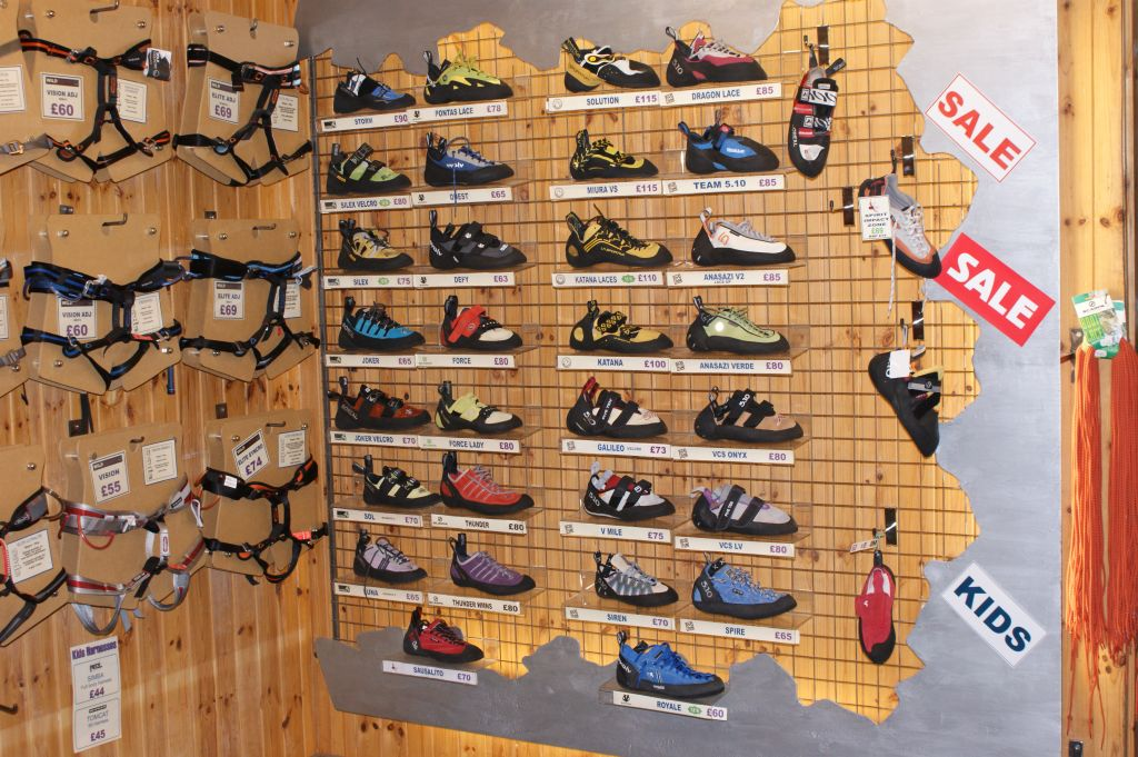 A typical selection of rockshoes at a modern climbing shop, 194 kb