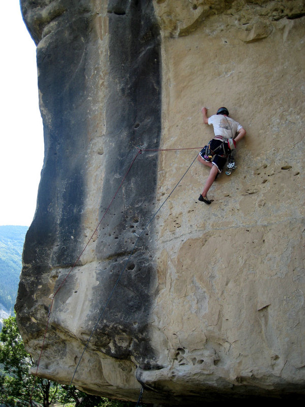 Pete Whittaker on lower wall of Sadomasochiste Direct E6 6b, Annot, France., 117 kb