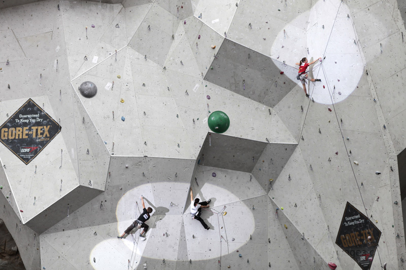 The huge wall of Ratho was a superb location for an international competition, 157 kb