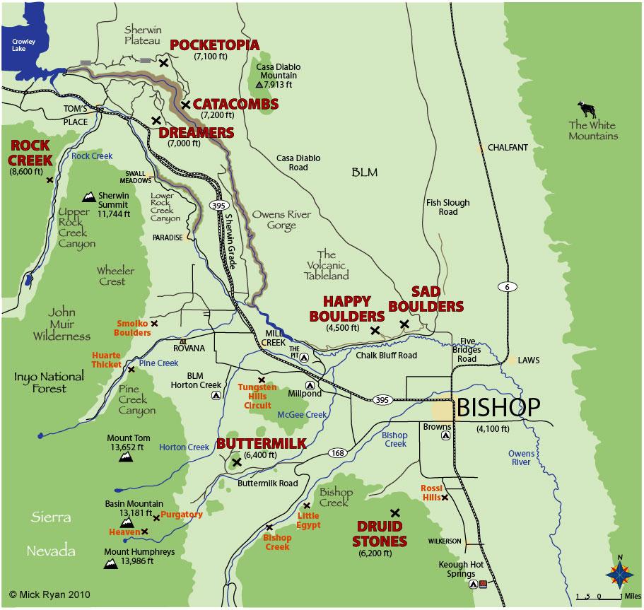Bishop Bouldering Area Map, 171 kb
