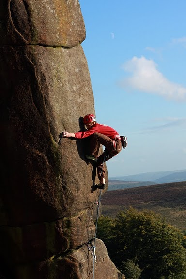 Pete Whittaker on his new route Common Misconception (E6 6c) at Stanage, 52 kb