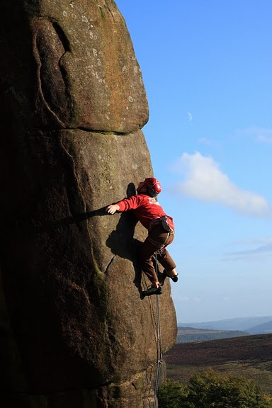 Pete Whittaker on his new route Common Misconception (E6 6c) at Stanage, 47 kb