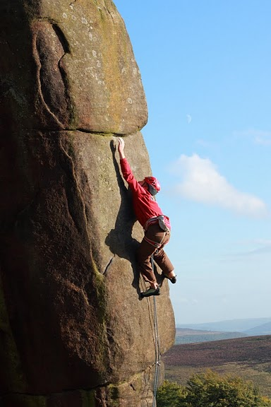 Pete Whittaker on his new route Common Misconception (E6 6c) at Stanage, 51 kb
